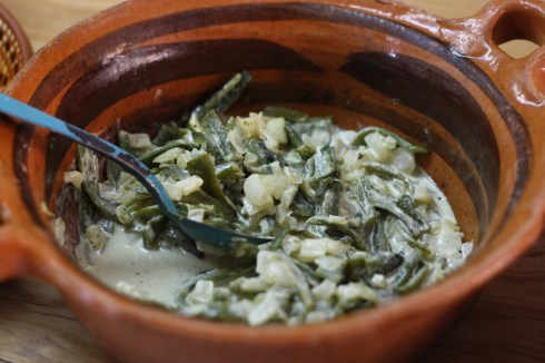 Rajas con crema, which we made in the salsa class